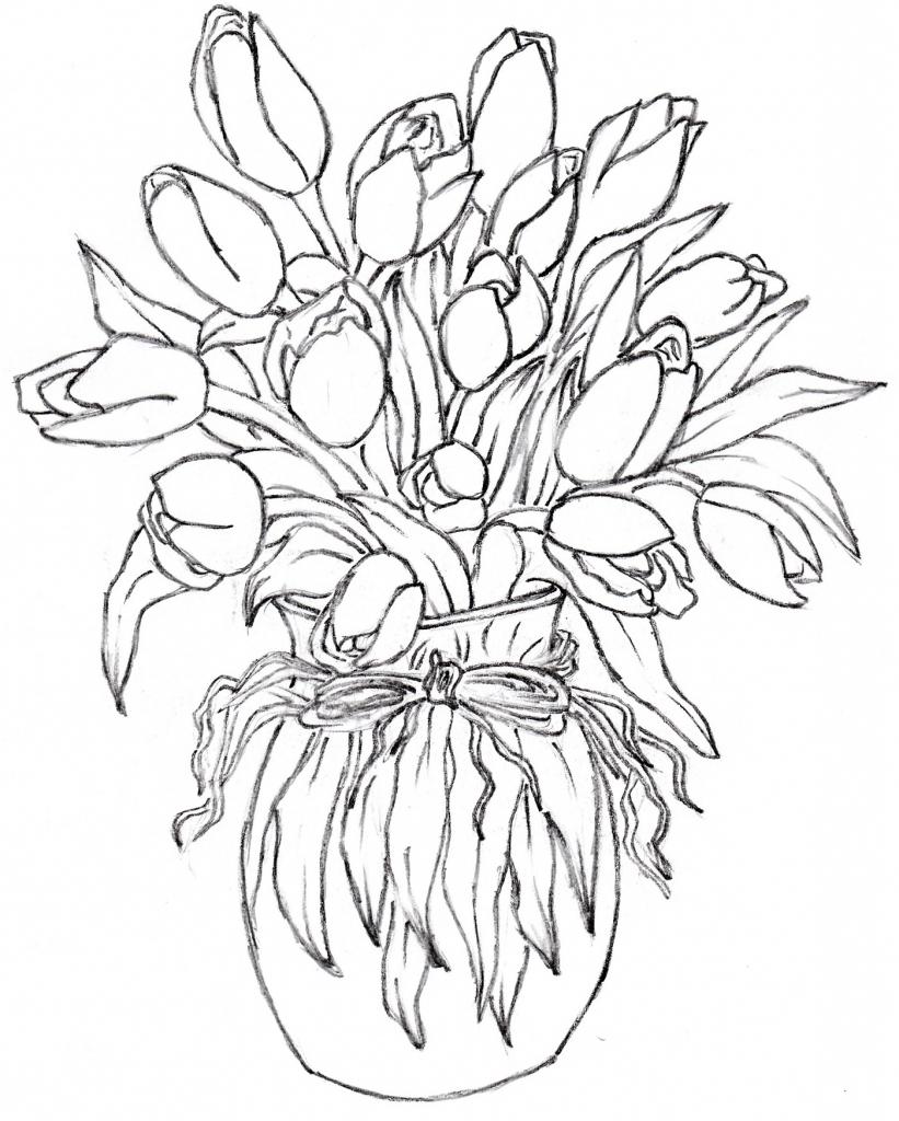 821x1024 Sketch Oe Beautiful Flower Vase Flower Vase Drawing Rose Beautiful