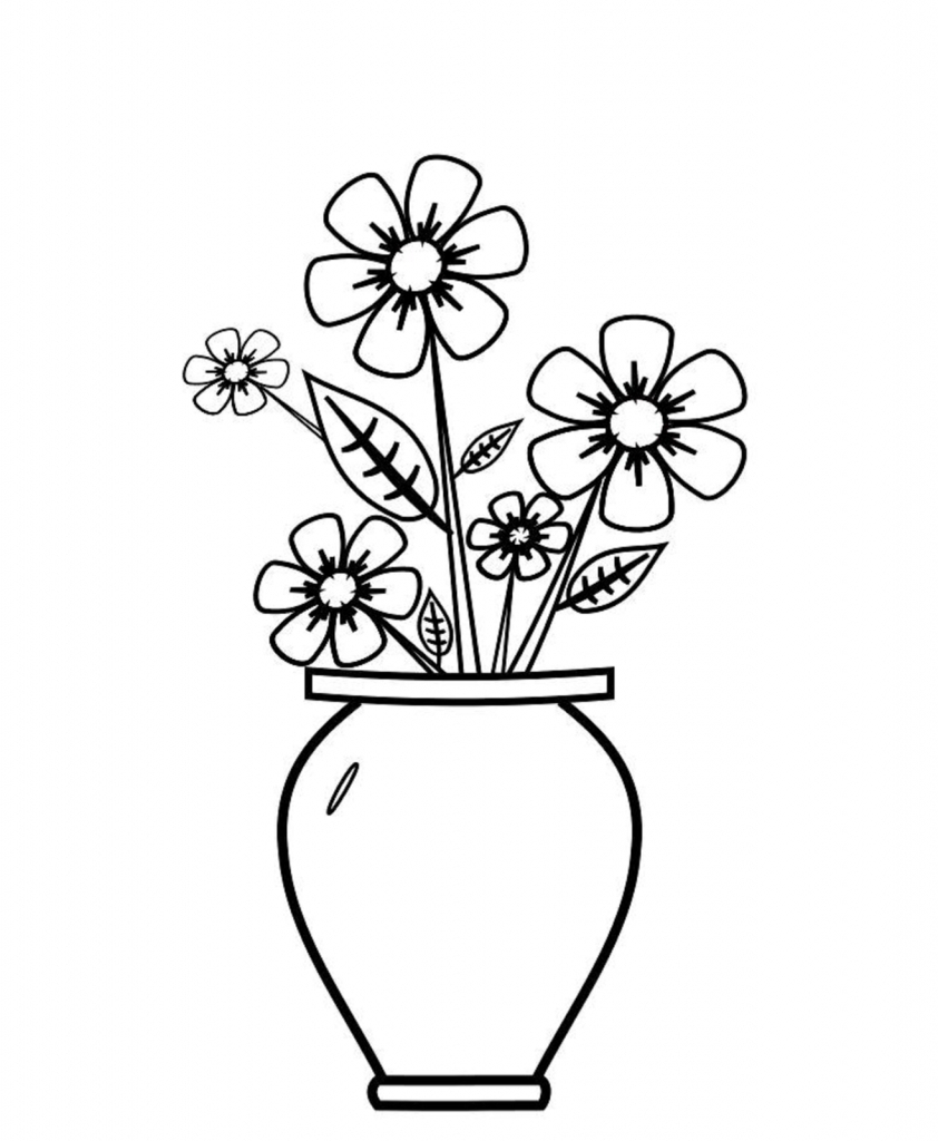 842x1024 Flower In Flower Vase Drawing Colour Flower Vase Drawing