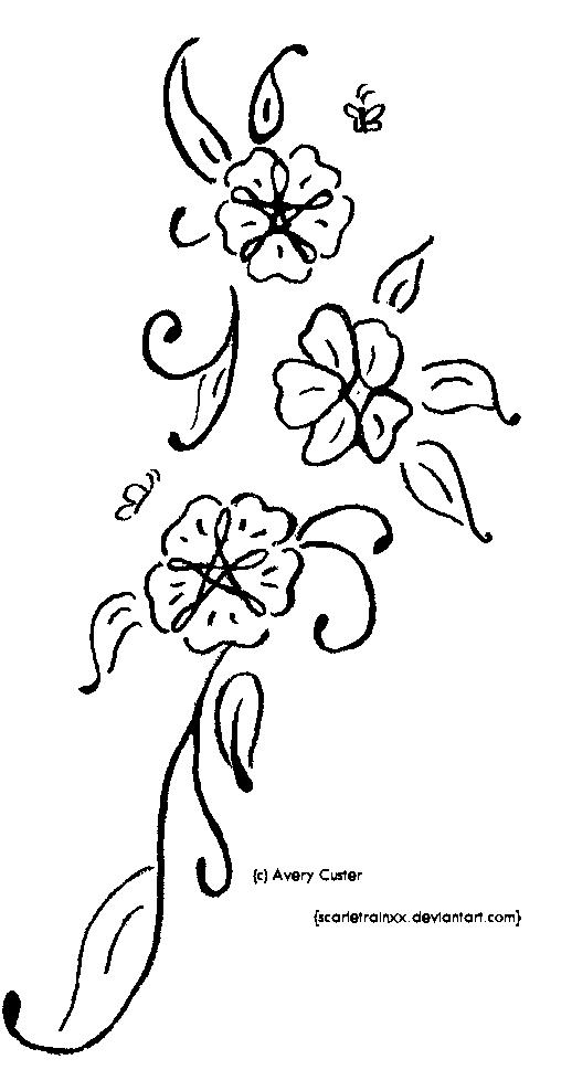 518x988 Flower Vine Tattoo Left Bicep With Purple, Blue And Orange