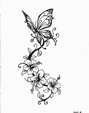 300x378 Flower Vine With Butterfly Tattoo Stencil By Ericka
