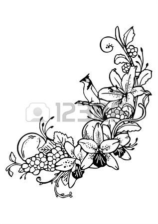 317x450 Vintage Flower Butterfly Vine Drawing Royalty Free Cliparts