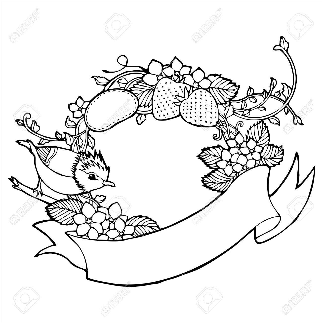 1300x1300 Bird Strawberry Flower Vine Label Sketch Royalty Free Cliparts