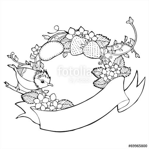 500x500 Bird Strawberry Flower Vine Label Drawing Vector Stock Image