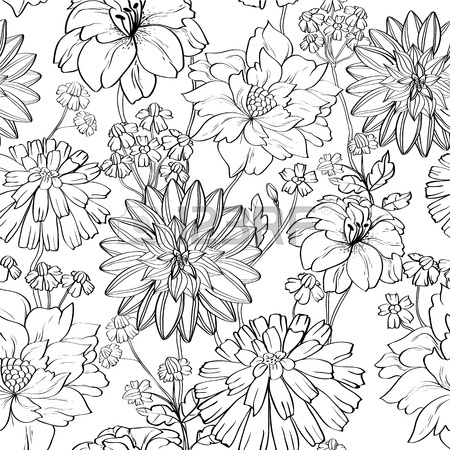 450x450 Hand Drawn Floral Wallpaper With Set Of Different Flowers. Could