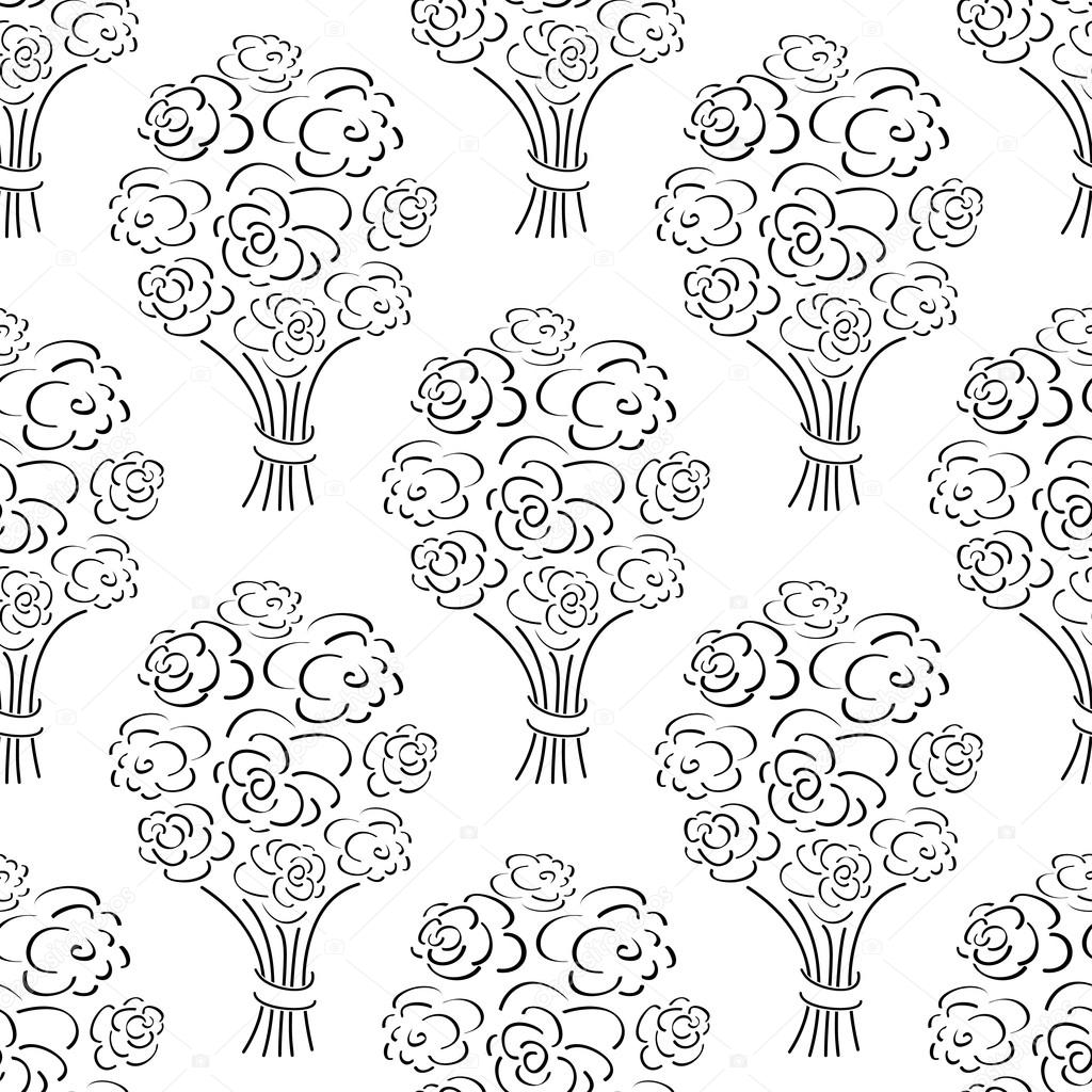 1024x1024 Rose Bouquet Seamless Pattern. Hand Drawn Outline Background