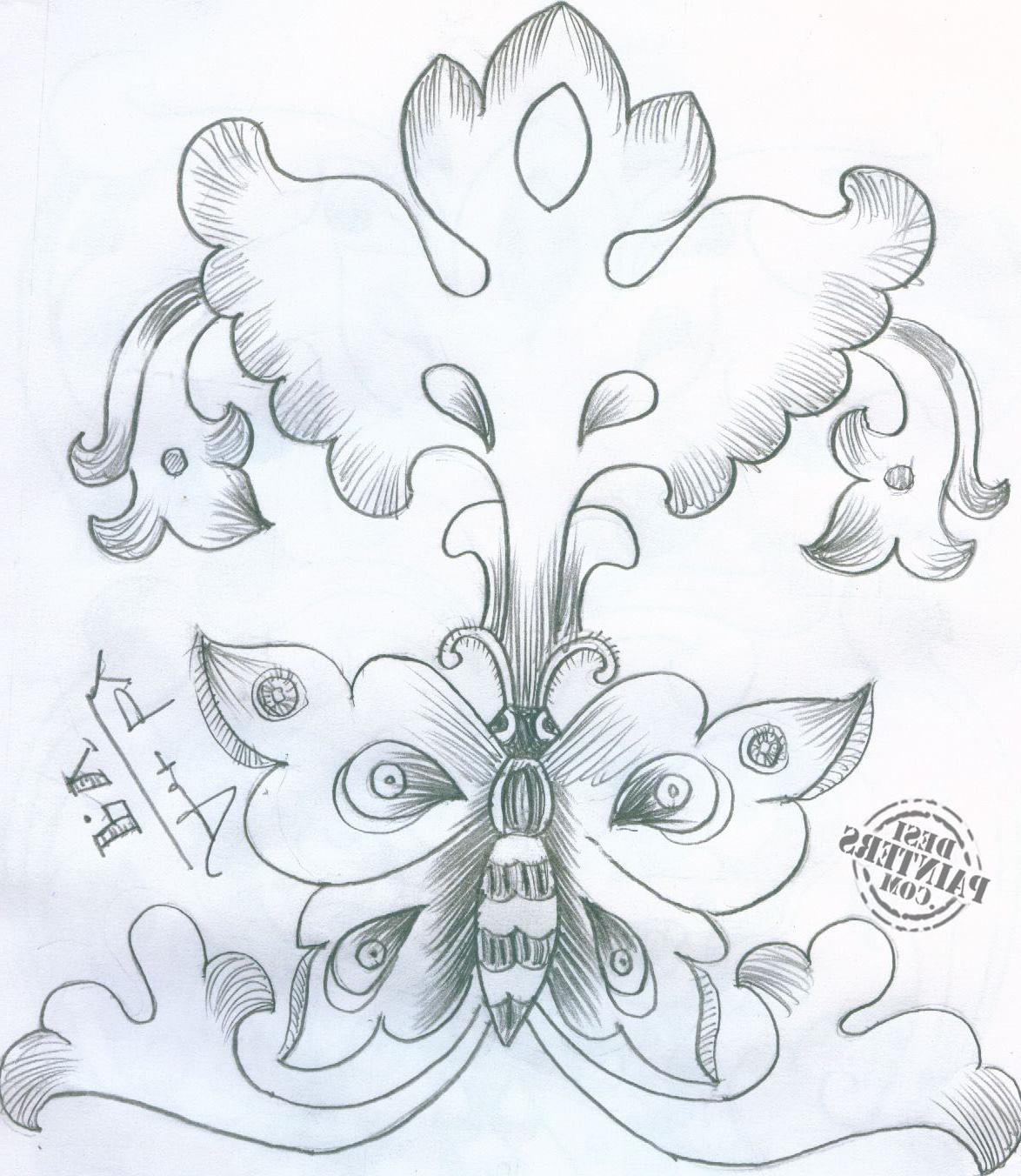 1174x1352 Wallpaper Of Flower In Pencil Sketch Butterfly Pencil Drawings