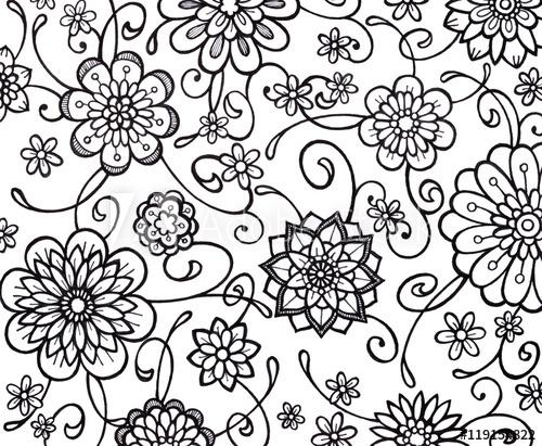 500x411 Black White Flower Marker Art With Fancy Curls Curves