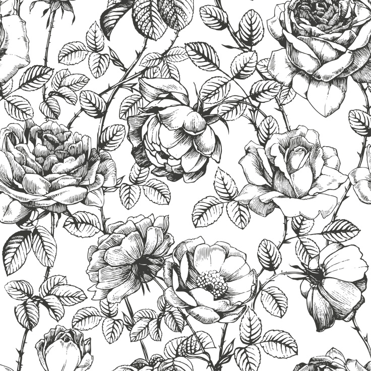 Flower wallpaper drawing at getdrawings free for personal use 736x736 black and white floral wallpaper anewall decor a mightylinksfo