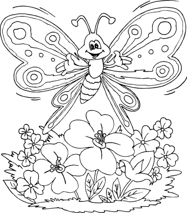Flower With Butterfly Drawing at GetDrawings.com | Free for personal ...