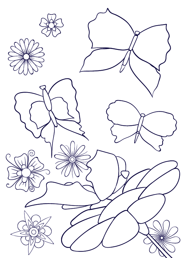 596x843 Drawn Butterfly Flower Drawing