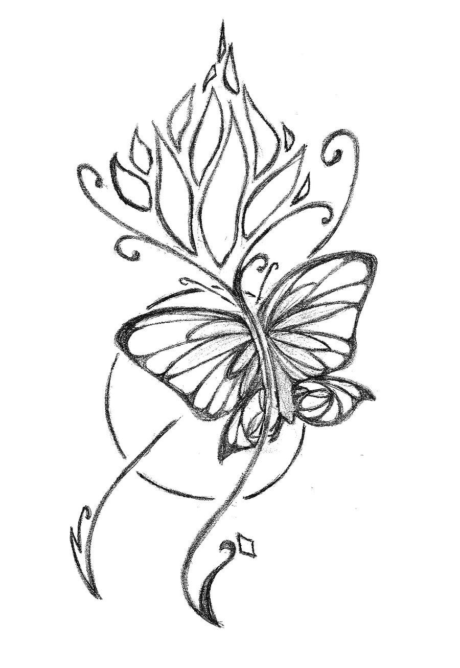 900x1306 Drawn Butterfly Flower Sketch