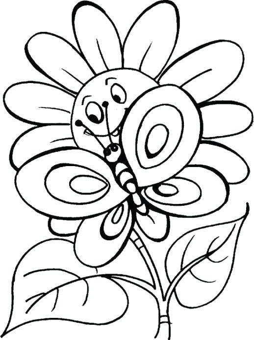 518x692 Free Coloring Pages Flowers Butterflies Flowers
