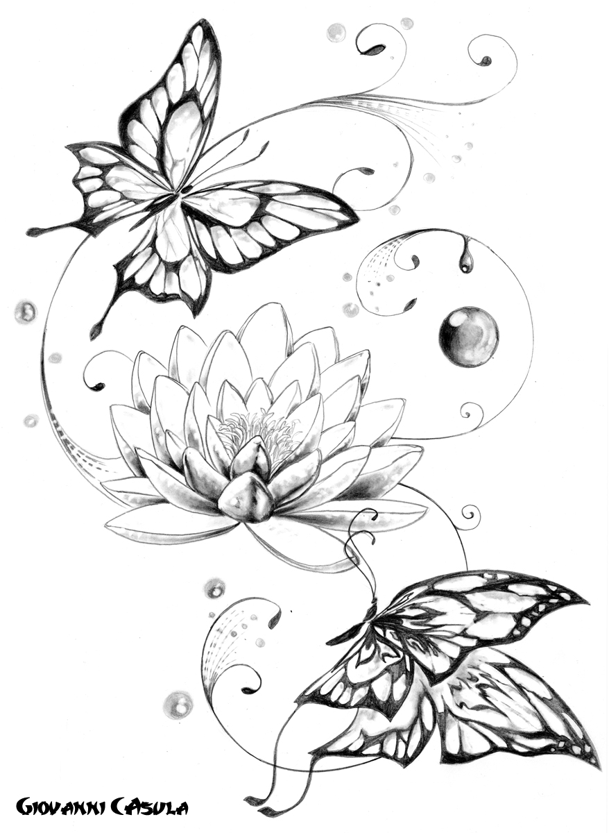 878x1200 Lotus Flower Butterfly Tattoo
