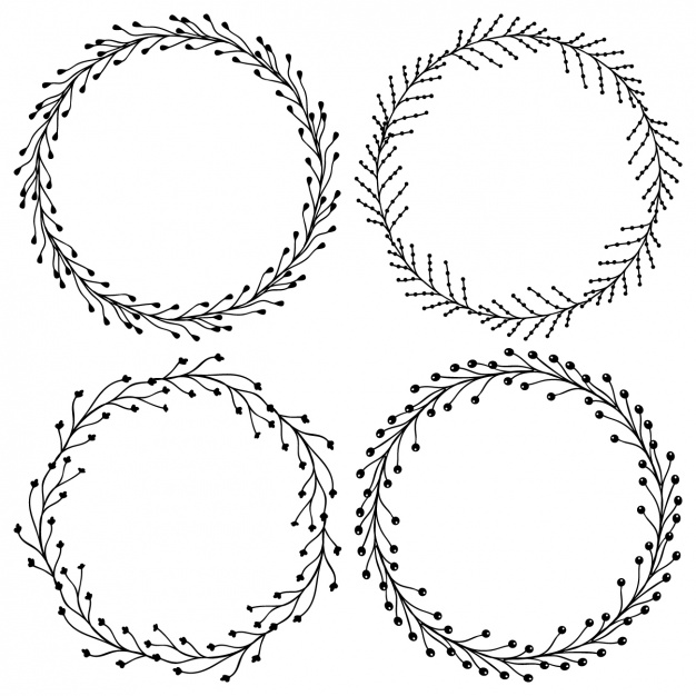 626x626 Floral Wreath Collection Vector Free Download