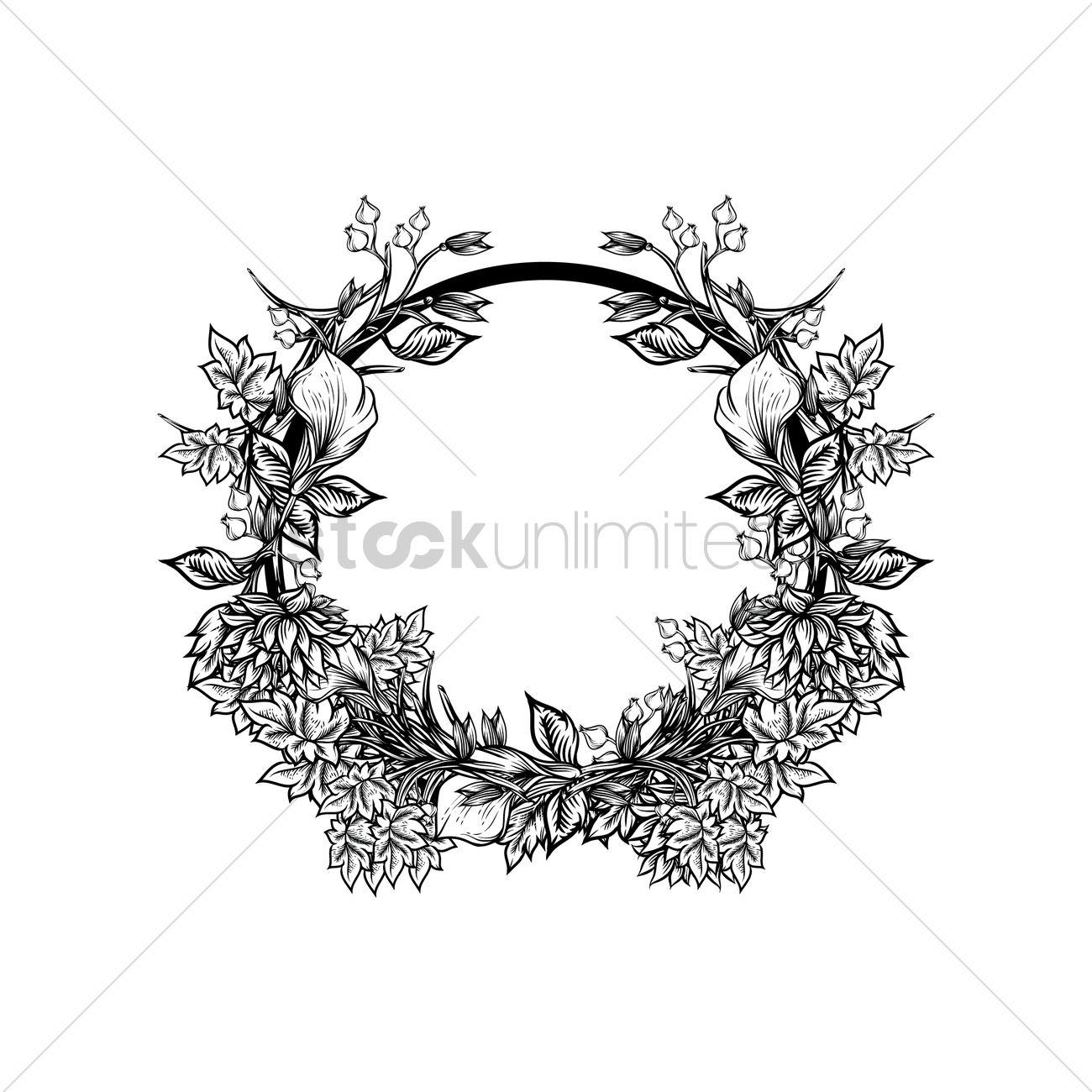 1300x1300 Flower Wreath Vector Image