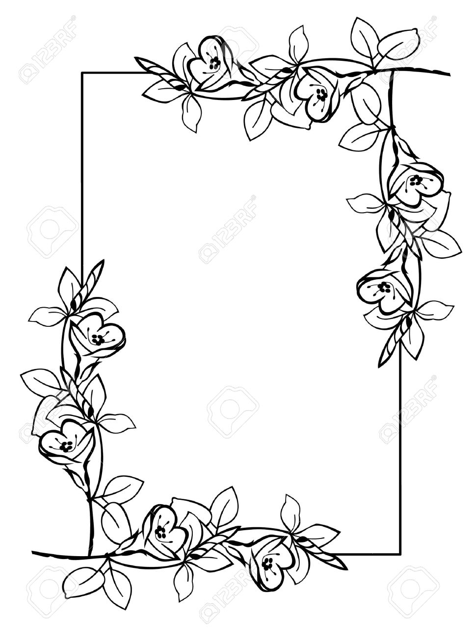 968x1300 Flowers Drawings With Border Roses. Rose Flower Wreath. Vector