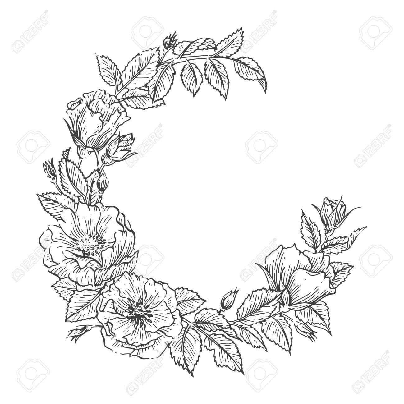 1300x1300 Hand Drawn Sketch Garden Floweral Wreath. Vector Greeting Card