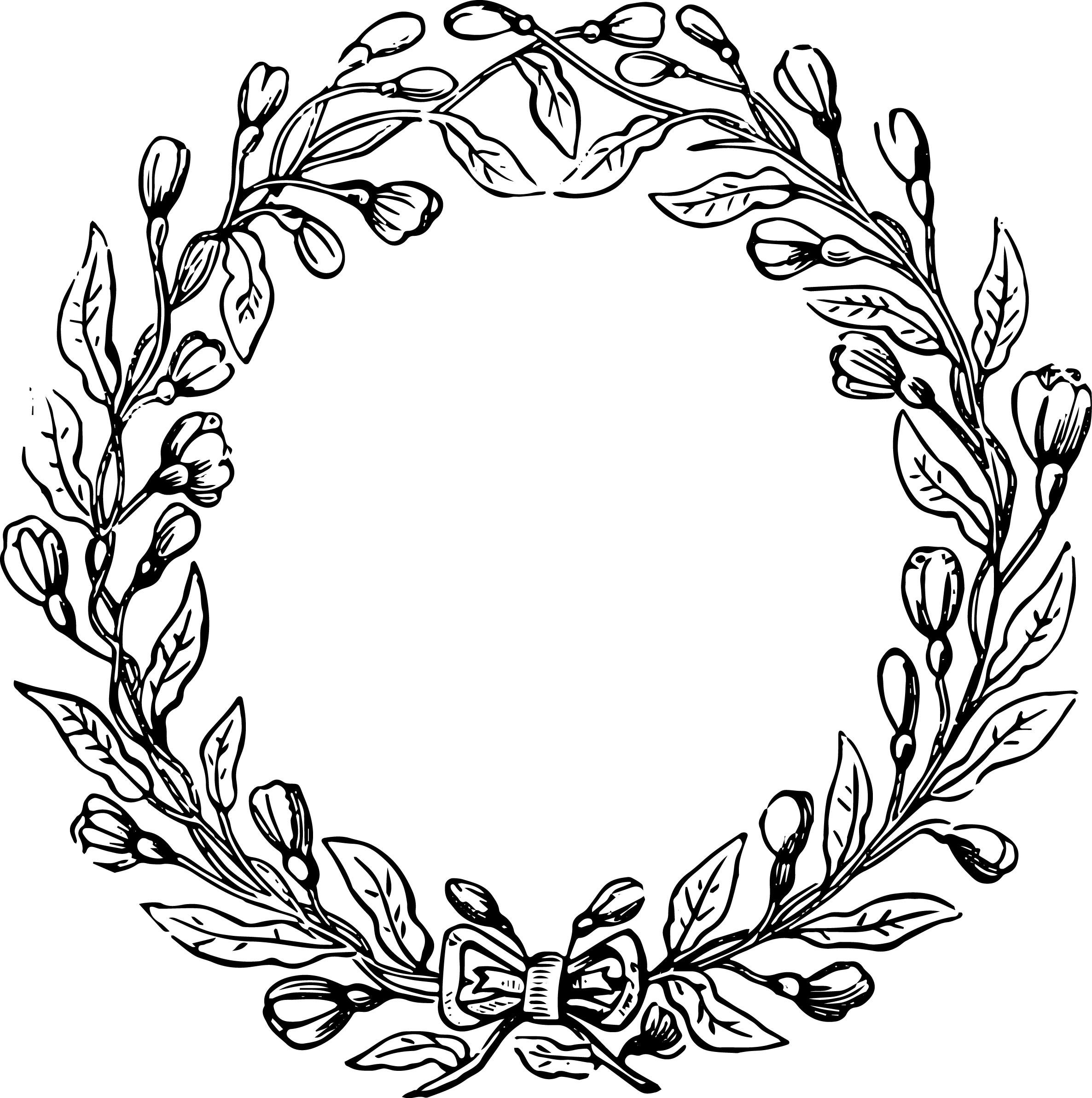2372x2384 Art Deco Flower Wreath Designs Line Drawn