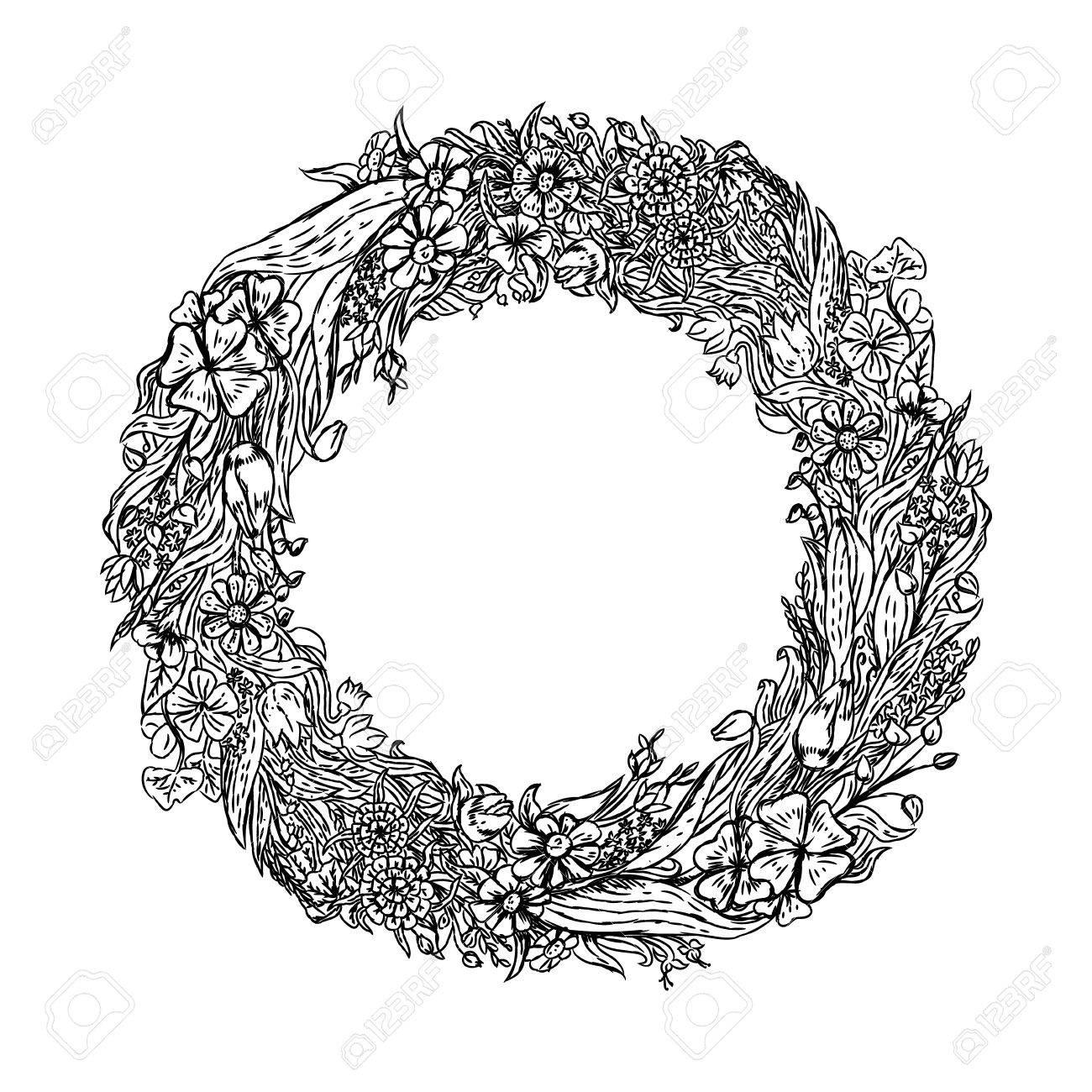 1300x1300 Hand Drawn Wreath Of Flowers. Background With Wild Flowers. Retro