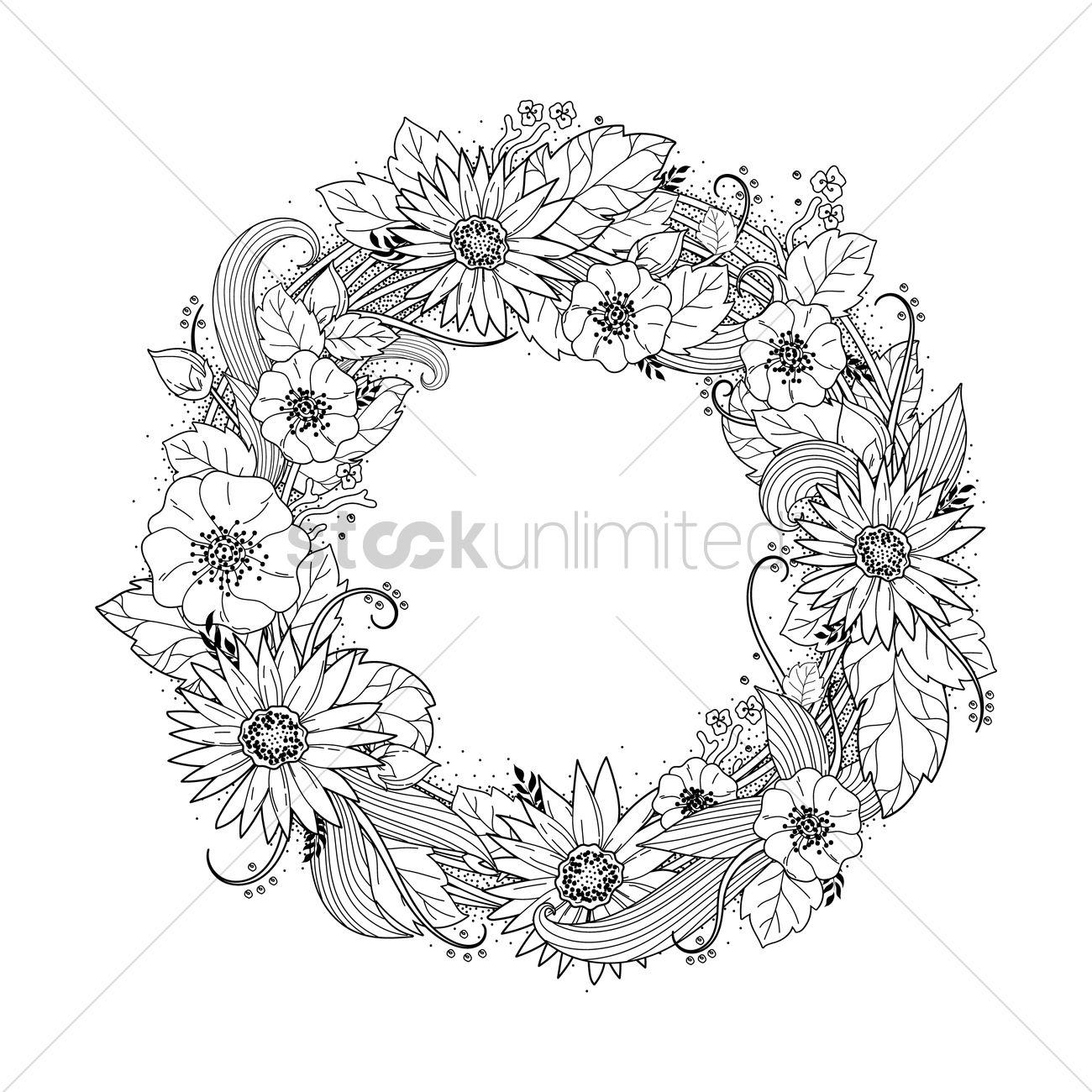 1300x1300 Intricate Flower Wreath Design Vector Image