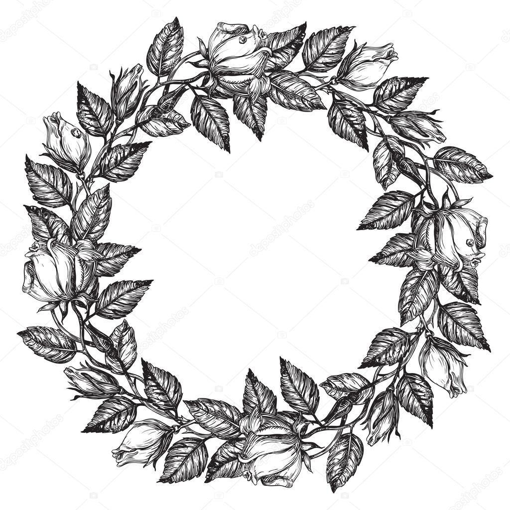 1024x1024 Rose Flower Wreath Stock Vector Song Mi