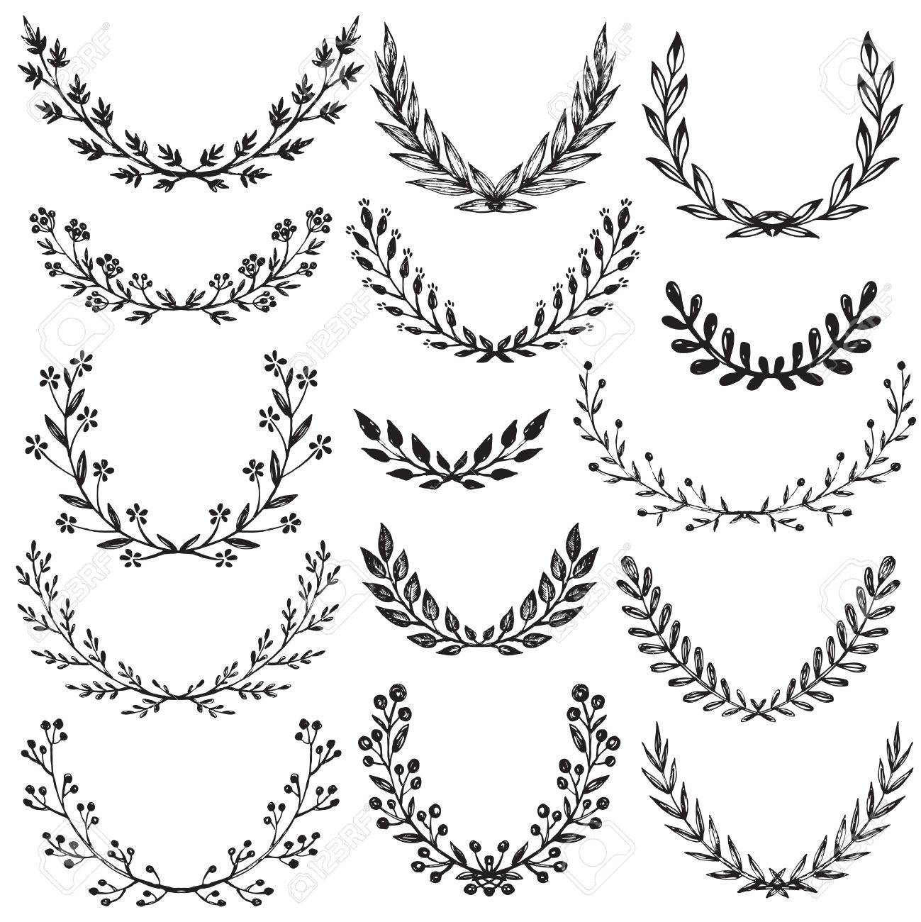 1299x1300 Set Of Hand Drawn Floral Wreaths With Branches, Leaves, Flowers