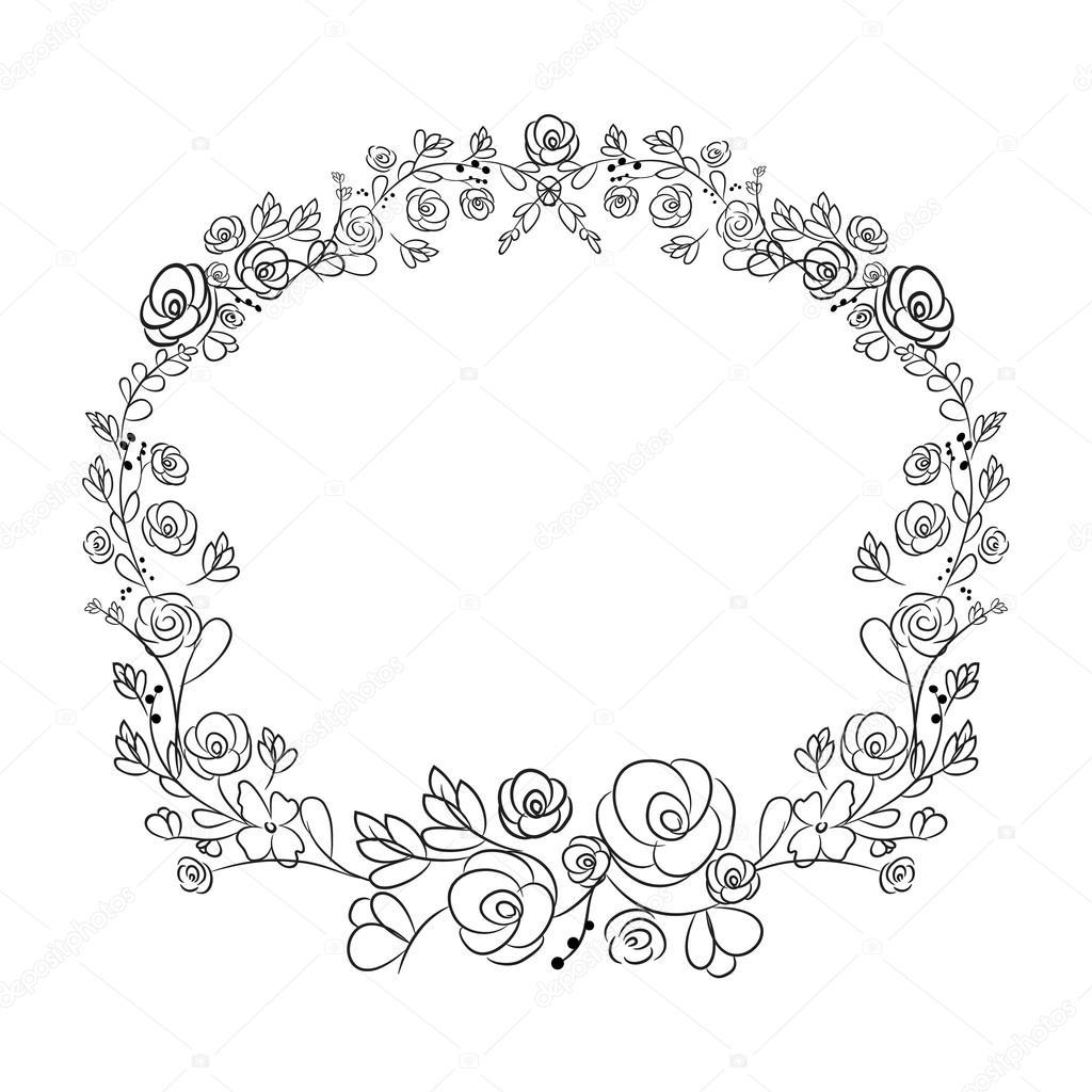 1024x1024 Spring Flower Wreath Laurel Branches. Vector Hand Drawn Design