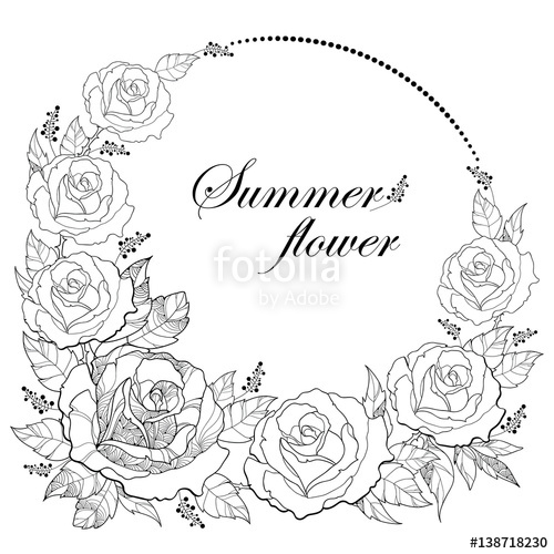 500x500 Vector Drawing Of Round Wreath With Outline Rose Flower