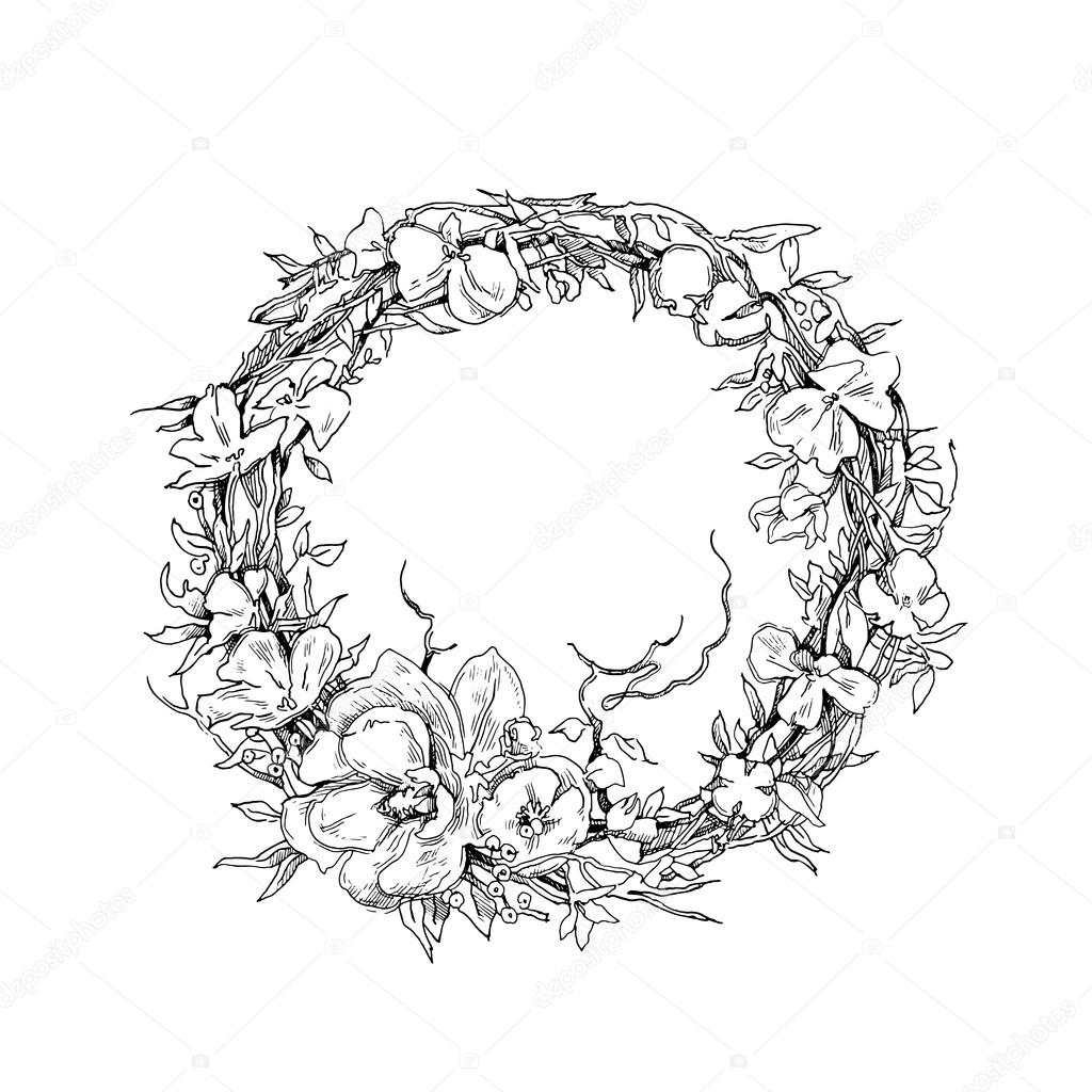 1024x1024 Vector Hand Drawn Illustration. Floral Background. Wreath, Flowers