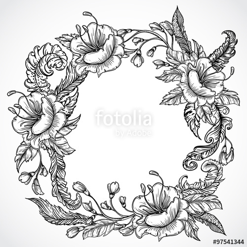 500x500 Vintage Floral Highly Detailed Hand Drawn Wreath Of Flowers