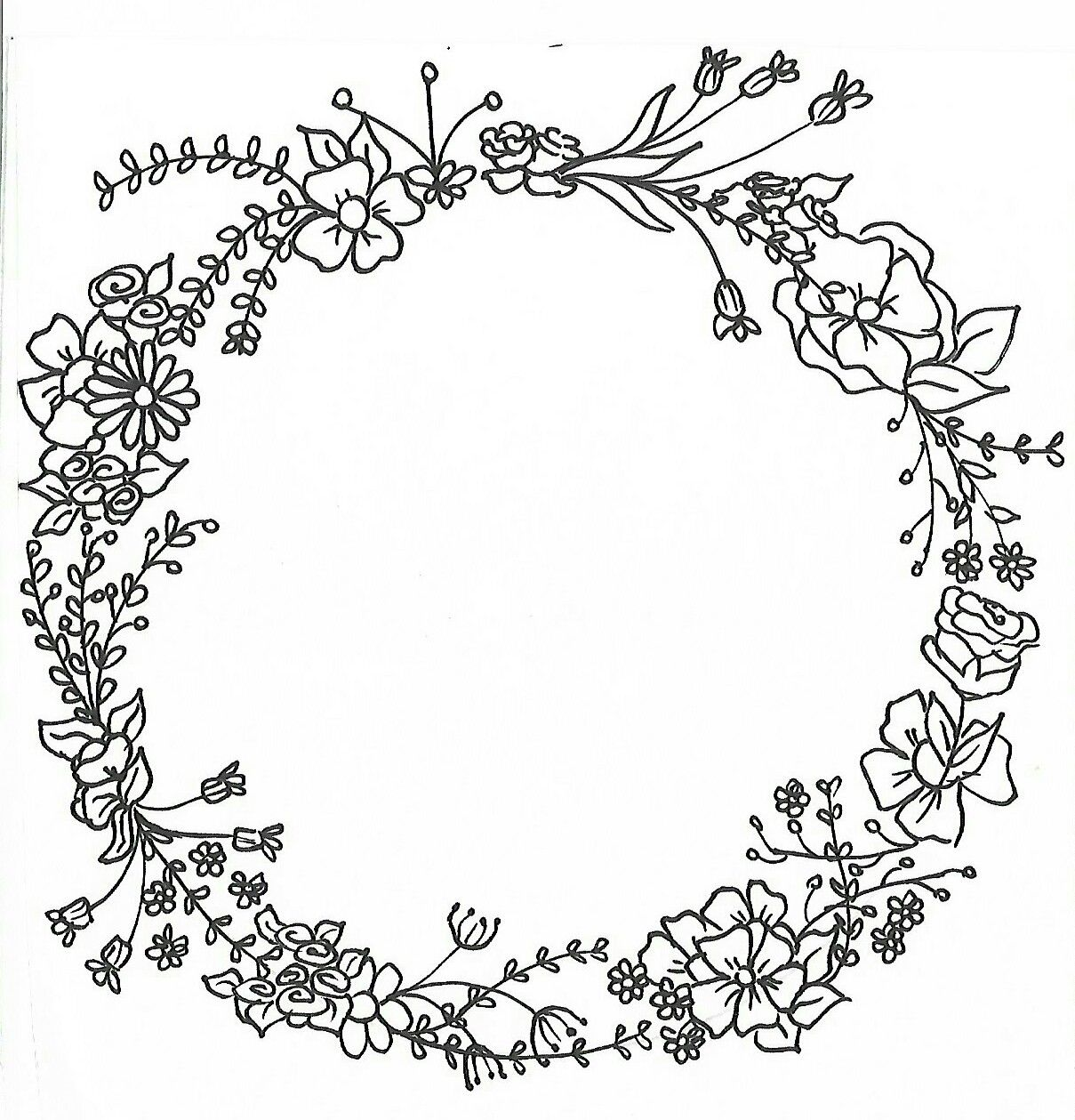 1209x1259 Wreath Mandalas For Paint Hand Drawing Hand Drawn Flowers Drawing