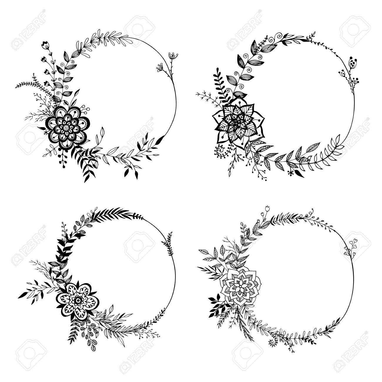 1300x1300 Wreath Drawing Vintage