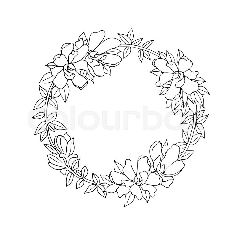 800x800 Black And White Vintage Detailed Flower Wreath Stock Vector