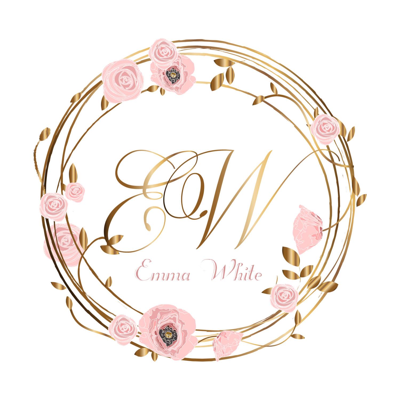 1500x1500 Digital Wreath Flowers Logo Custom Logo Flower Wreath Logo