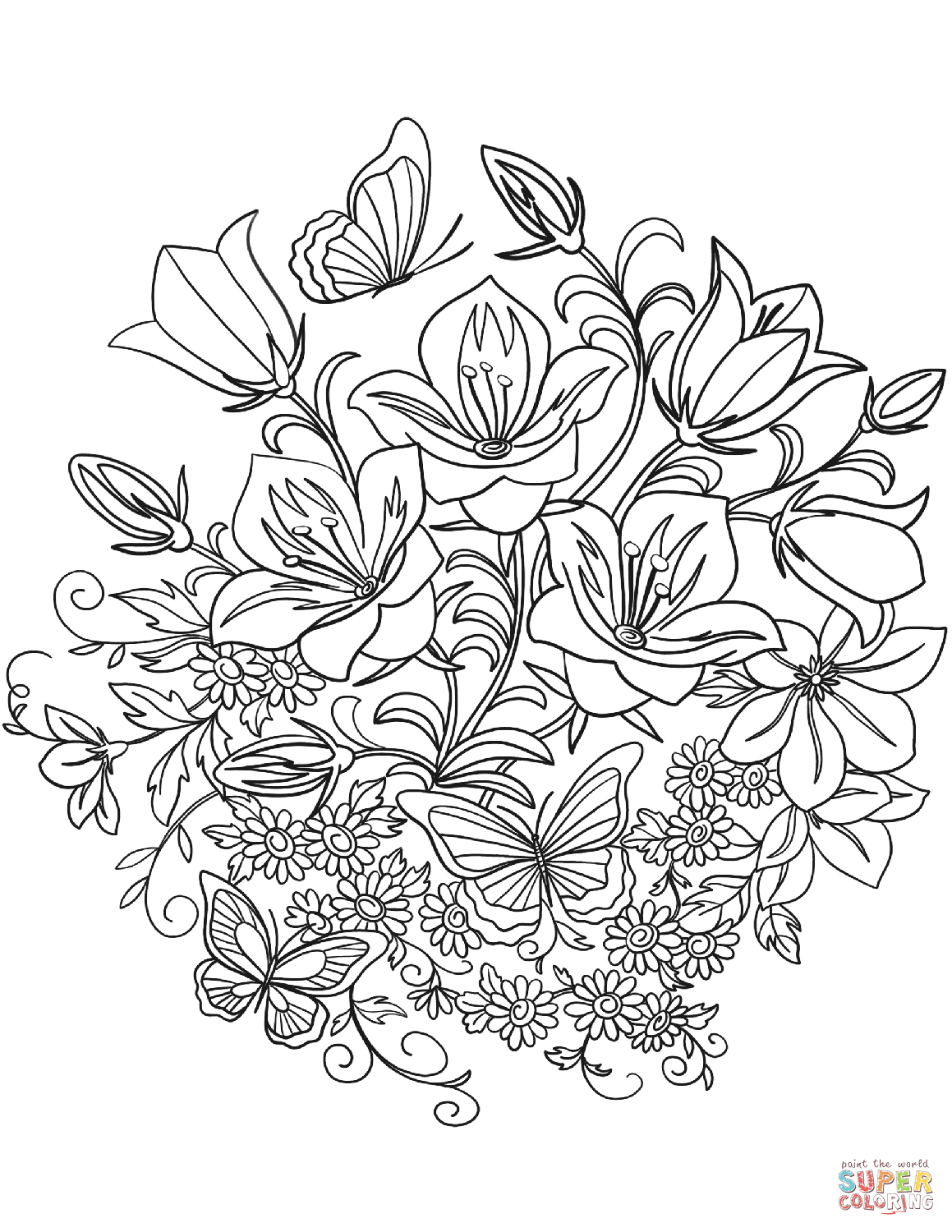 1159x1500 Butterfly And Flowers Coloring Page Free Printable Coloring Pages