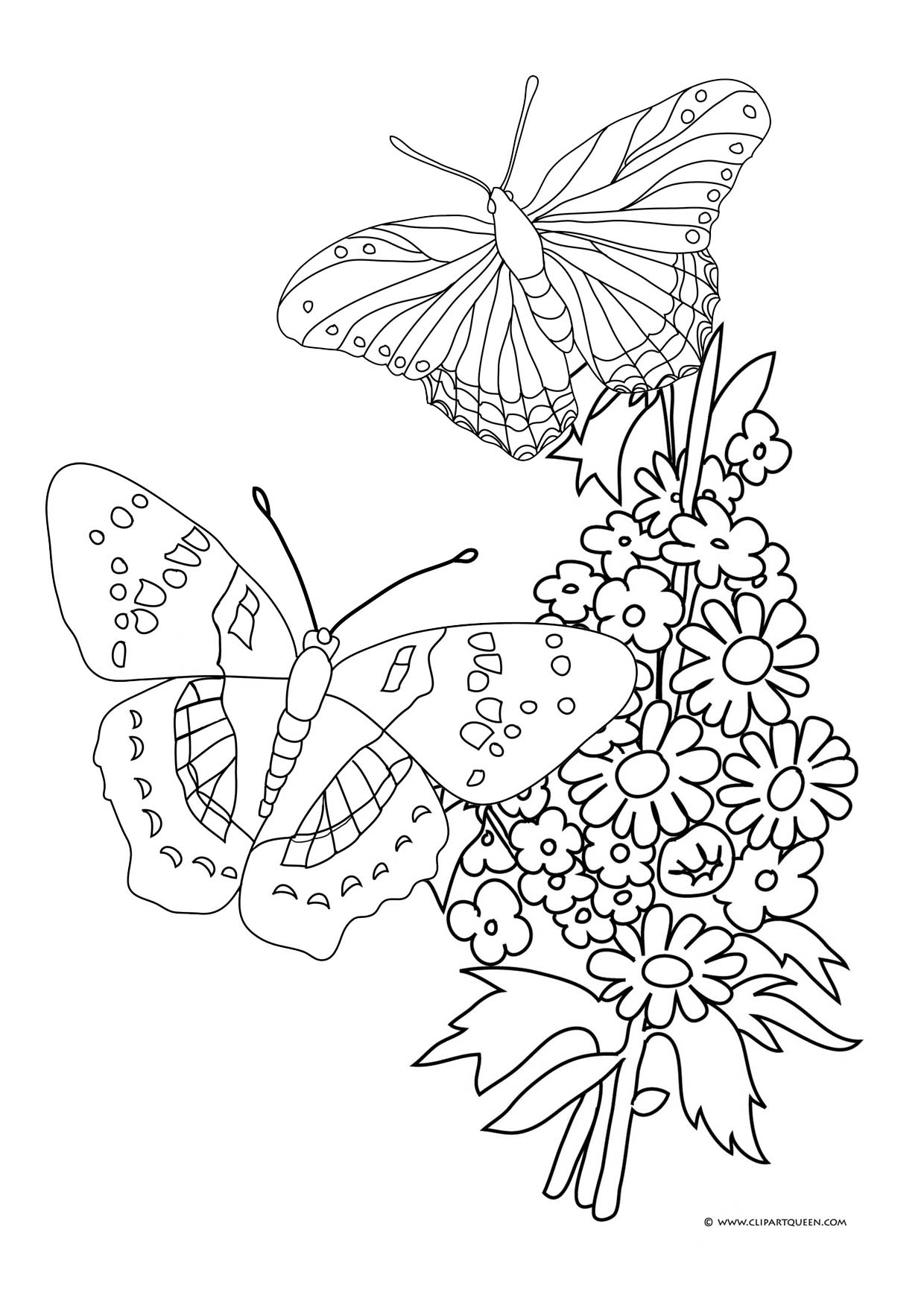 1240x1754 Drawing Butterfly And Flowers Coloring Pages