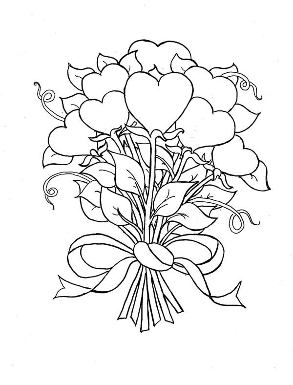 Flowers And Hearts Drawing