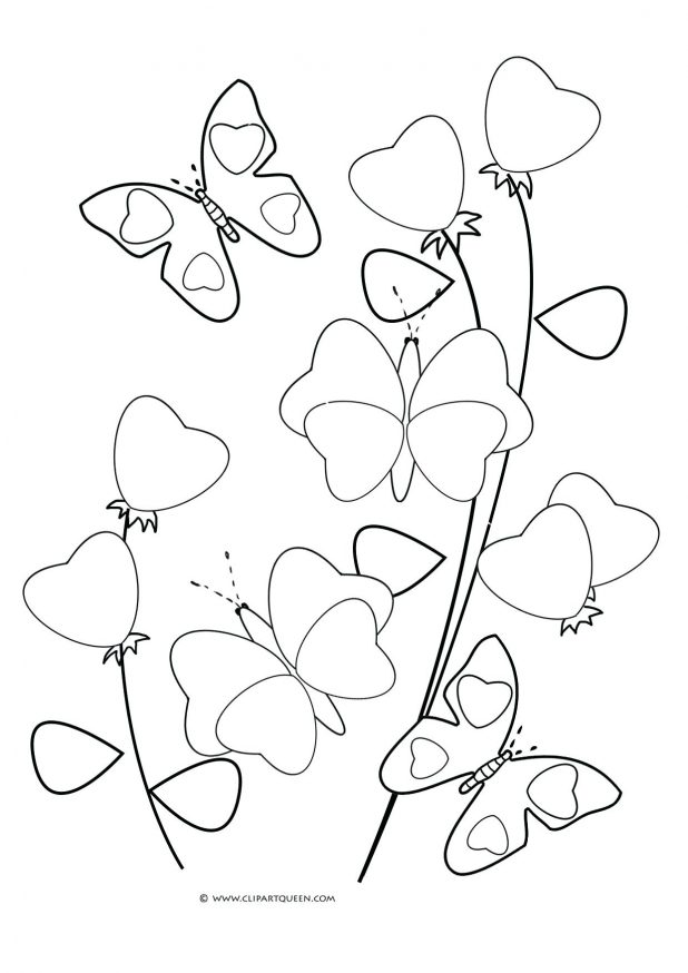 618x874 Butterflies Coloring Pages A And Hearts Flowers