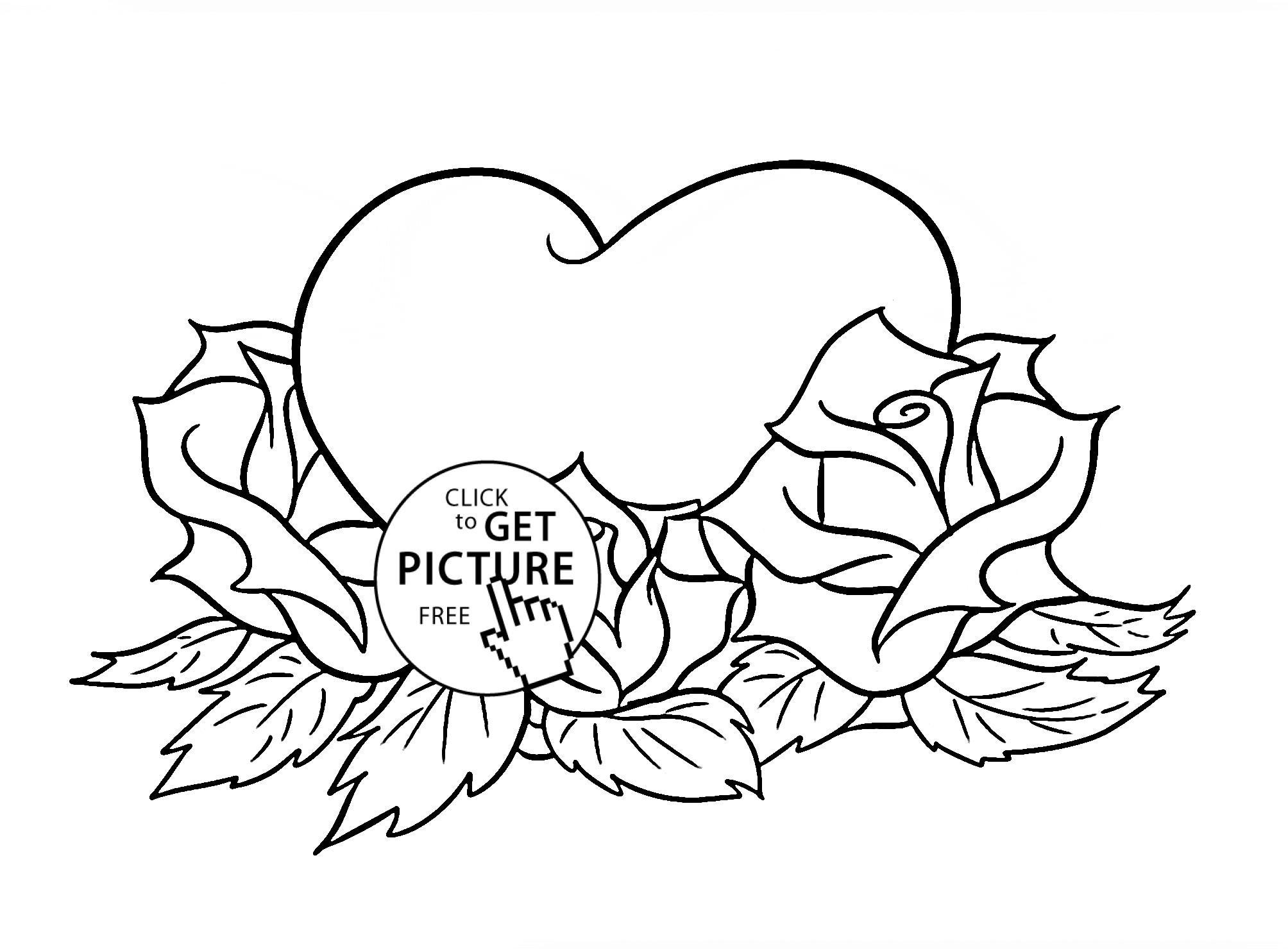 Flowers And Hearts Drawing At Getdrawingscom Free For Personal - Coloring-pages-with-flowers