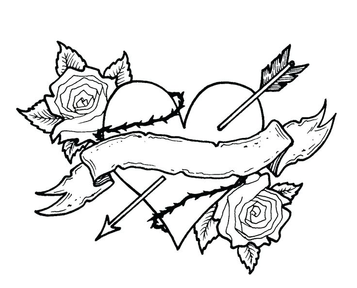 736x593 Roses Hearts Coloring Pages Printable For Funny Draw Of Flowers