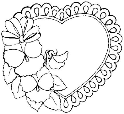435x400 Coloring Pages Flowers And Hearts Coloring Page For Kids