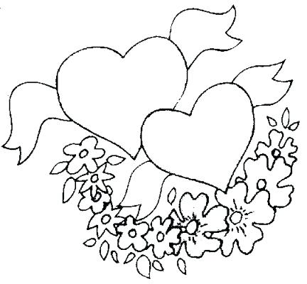 432x400 Coloring Pages Flowers And Hearts Click To View Full Size Image