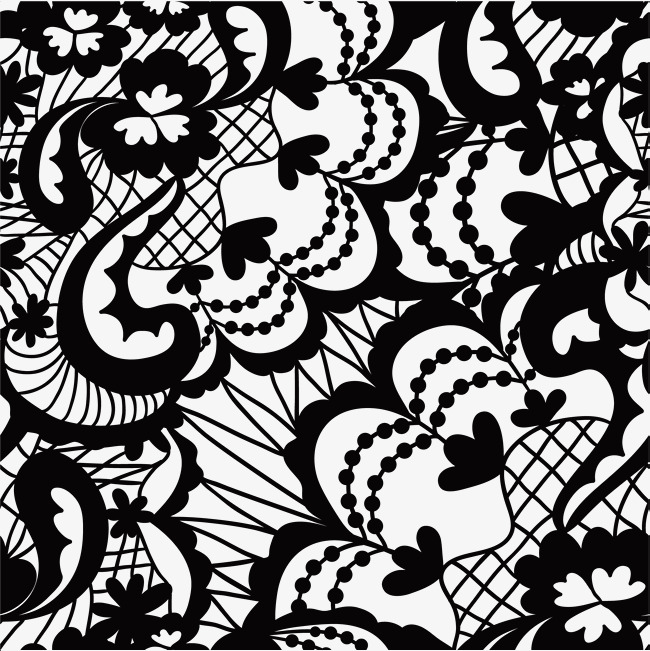650x651 Hand Painted Black Flower Vines, Hand Drawn Flowers, Dot, Black