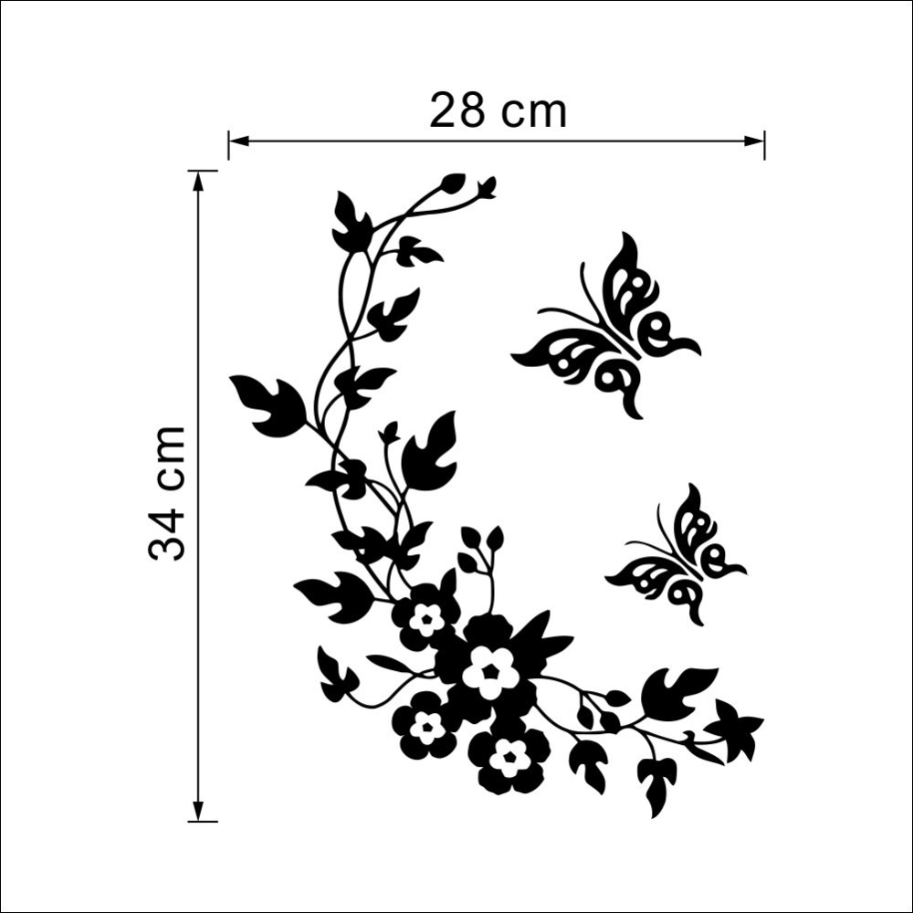 1000x1000 Hot New Butterfly Flower Vine Bathroom Wall Stickers Home