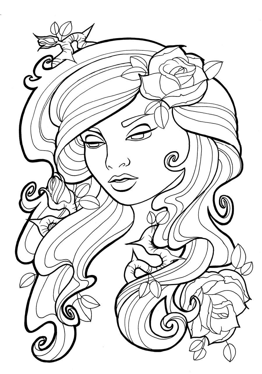 900x1284 Tattoo Flower Vine Coloring Page Outline Azalea Plant Short