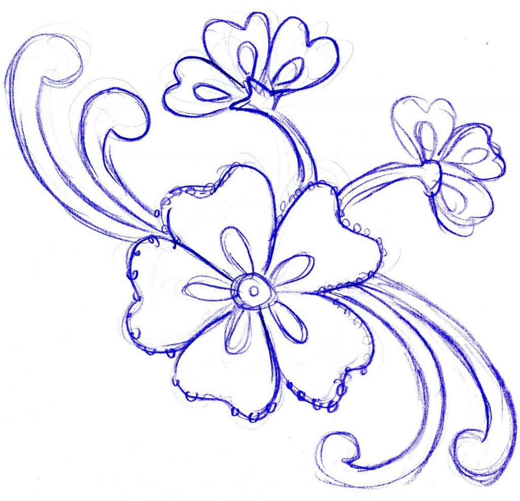 1024x986 Simple Pencil Drawn Flowers Simple Flower Designs Pencil Drawing