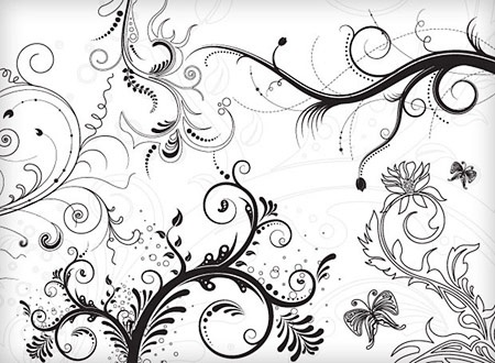 450x330 Classical Flowers Background Black White Decoration Free Vector