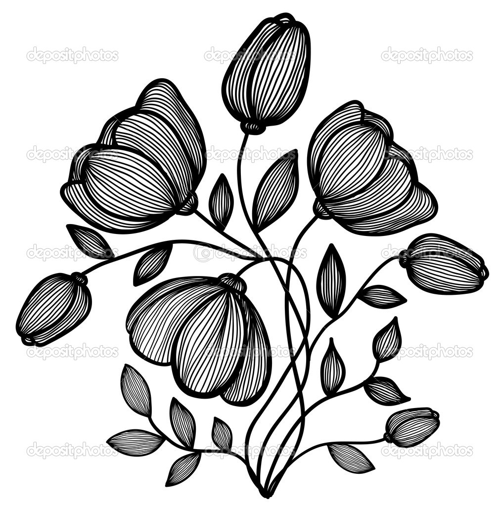 1011x1023 Flower Illustration Black And White FloweryWeb DOODLE N DRAW