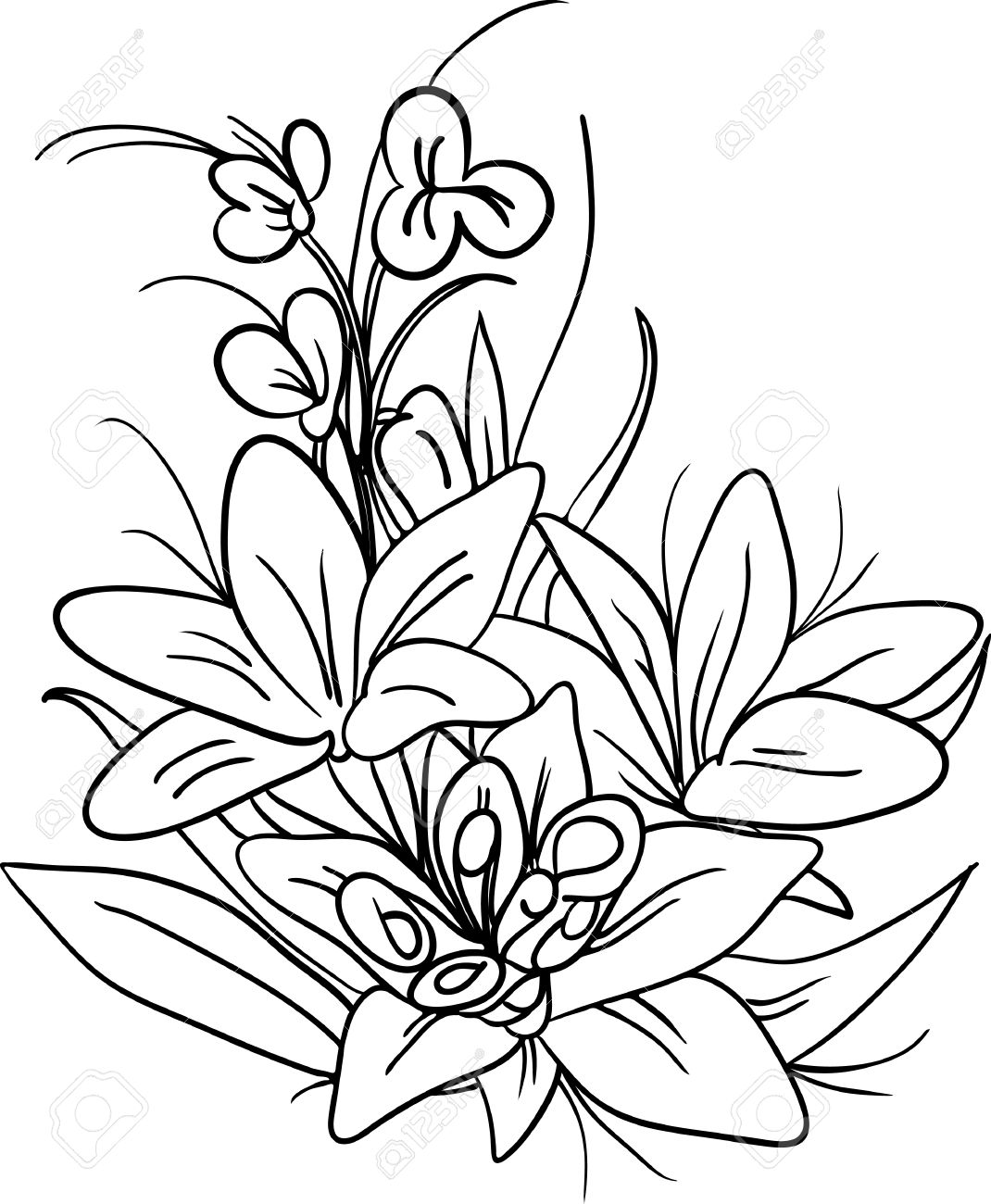 1070x1300 Bouquet Of Flowers Drawing Black And White