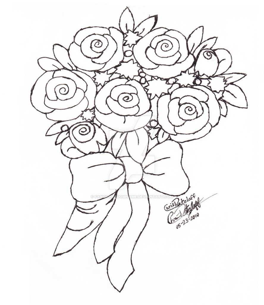 888x1024 Bouquet Of Flowers Drawing Drawn Bouquet Flower Drawing